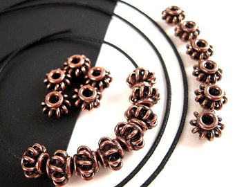 20 Solid Copper Spacer Beads, 8mm, Wire Basket, Wire Lantern, Antiqued Copper Spacers, Copper Rondelle, Wire Rondelle F053