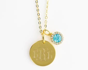Gold or Silver Birthstone Necklace | Engraved Monogram Birthstone Necklace | Swarovski Crystal Birthstone Necklace | Personalized Necklace