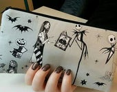 Nightmare Before Christmas Gray and Black Zippered Wallet  Pouch Make Up Bag Pencil Case Anime Cosplay