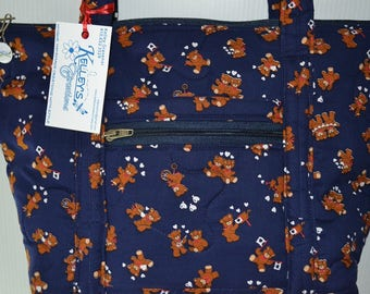 Quilted Fabric Handbag Navy Blue with Adorable Teddy Bears