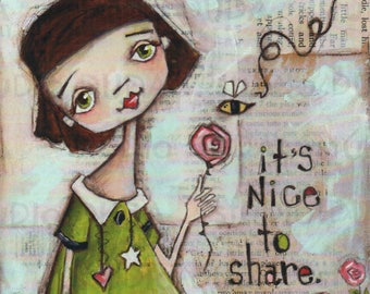 Print of my Original Mixed Media Painting - Sharing is Nice - 8 x 10 print