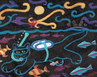 ORIGINAL PAINTING, Black Kitty Scuba Diver having a Moonlight Maui Swim, by DM Laughlin