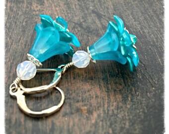 Jewelry Gift Earrings, Flower Dangle earrings, blue earrings, blue flower earrings, flower earrings, dangle earrings by pinkicejewels