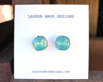 Aqua Post Earrings - medium size. Bridesmaids Earrings.