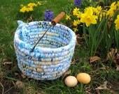 RESERVED for Carol   TEXTILE art BASKET custom order Easter Bucket Number One