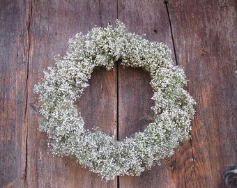 dried BABiES BREATH  WREATH  for year round decoration or centerpiece