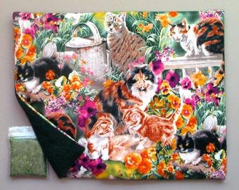 Catnip Mat and Catnip Cats in a Flower Garden Refillable Reversible