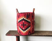 Woven Bucket- Red/Orange Cross Pattern