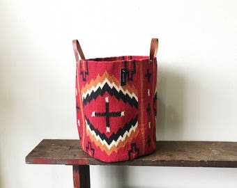 Woven Bucket—Red/Orange Cross Pattern