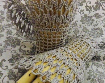 Victorian Steampunk Bridal Gothic Cosplay Grey Gray Crochet Lace Wrist Cuffs