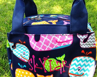 Whale Kid Insulated Lunch Tote - Monogramed Lunch Box - Personalized Lunch Tote - Embroidered Lunch Box - Daycare School Nursery Lunch Box
