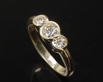 14K Gold Three Diamond Infinity Ring by Cavallo Fine Jewelry