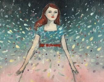 her light shattered the dark -  print of original oil painting