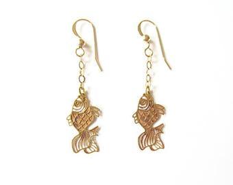 Koi fish earrings, japanese earrings, filigree fish jewelry, koi jewelry, gold earrings, laser cut, gift, delicate earrings