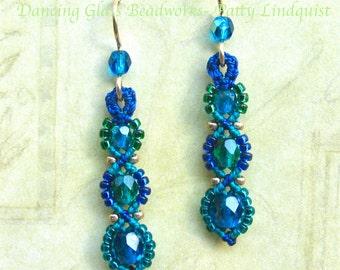 Beaded Macrame Earrings, Teal and Blue Bead Earrings, Beaded macrame, seed bead earrings, ocean blue, teal, macrame earrings