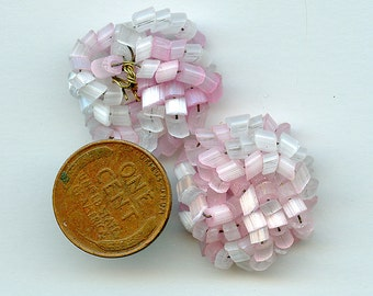 "Lot of (4) Beaded Glass ""Knots"" Pink and White Handmade Japan Wired 3362"
