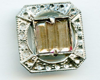 "Art Deco Rhinestone Button Square Silver metal 1""  3457"