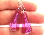 Translucent Pink Dichroic Glass Earrings with Sterling Silver Hooks