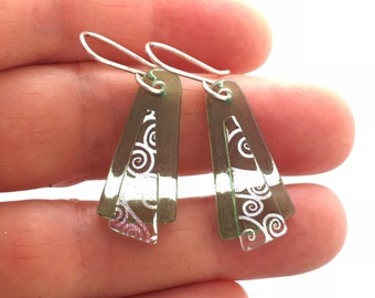 Translucent Green Dichroic Glass Earrings with Sterling Silver Hooks