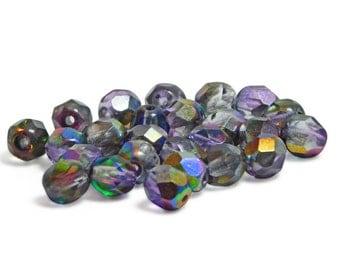 Czech Fire Polished Beads - 6mm Fire Polished - Round Beads - Czech Glass Beads - Purple Fire Polished - Czech Round - 25pcs (2387)