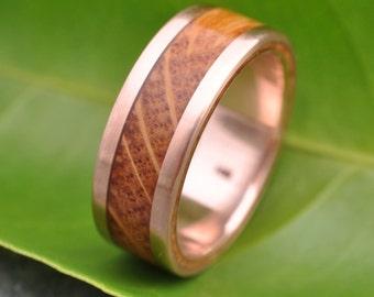 Bourbon Barrel Wood Ring, Lados Rose Gold - ecofriendly whiskey barrel wood wedding band, 14k recycled rose gold, mens red gold ring