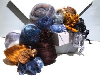 """Fiber Art Kit, Spinning kit, Felting kit, blending board fiber, roving firestar locks angelina """"River Bottom"""" blue grey brown topaz DIY GIFT"""