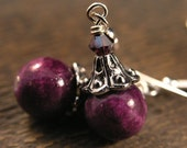 Choice of colors-Stone beads, swarovski crystal and silver handmade earrings