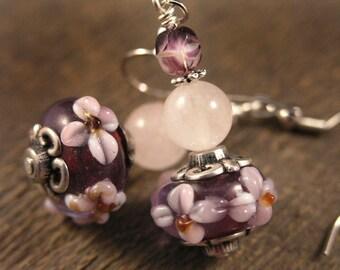 Purple flower lamp work beads, rose quartz stone and silver handmade earrings