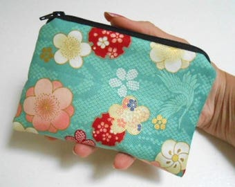 Zipper Pouch Little Padded Coin Purse ECO Friendly NEW Teal Blossom Cranes