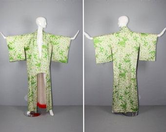 silk kimono / floral / vinage robe / FAIR MOSS vintage kimono