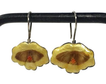 70s Early Laurel Burch Sterling Enamel Hoop Earrings / Vintage 1970s Silver Chinese Export Cloisonne Yellow Flower Earrings Pierced Ears