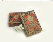 2 Antique Books with Red & Blue Floral Cloth Cover Tanglewood Tales Rollo in Naples Instant Library Collection Wedding Table Decor