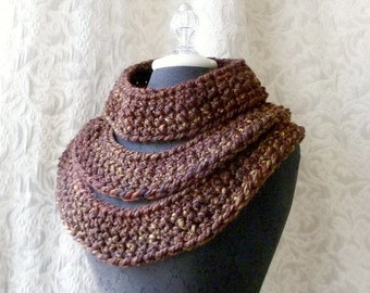50% Off Sale - Triple Threat Cowl - Chunky Crocheted Cowl - Ready to Ship