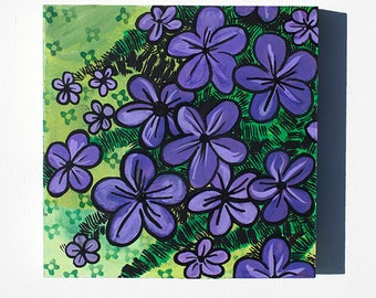 Creeping Phlox Painting - Original Purple Flower Mixed Media Floral Painting by Claudine Intner - Spring Flowers