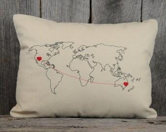 World Heart Strings Map Pillow