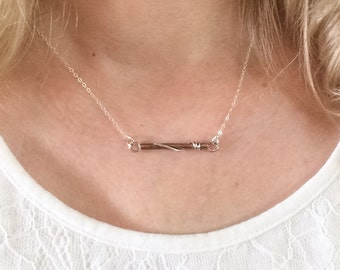 Copper Sterling Silver Bar Necklace Mixed Metal Bib Necklace Metalsmith Necklace Adjustable Length Necklace Artisan Made Organic Necklace