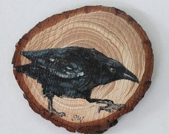 Raven No. 6 - Original Acrylic Art, Painted on Wood Slice
