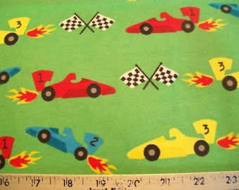 Race Car - Snuggle Cotton Flannel Fabric - BTY - Colorful Race Cars and Flags