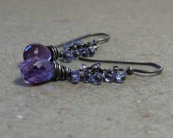 Amethyst Earrings Tanzanite Cluster Purple, Lilac, Lavender Oxidized Sterling Silver February Birthstone Earrings
