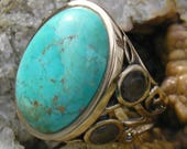 Vintage Studio Barse bronze and American turquoise statement ring size 10
