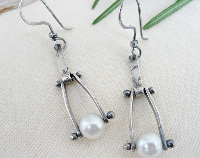Sterling Silver White Freshwater Pearl Hand Stamped Swing Earrings