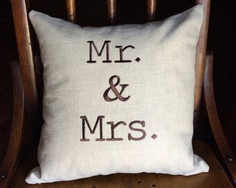 Sale- Mr. and Mrs. Pillow cover-Embroidered pillow cover. Wedding