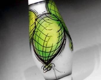 Bright Green Balloons Illustration in Glass, handmade lampwork glass bead focal by JC Herrell