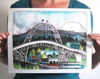 "Art - Portland Art - Portland Bridge Art - 405 Bridge Illustration - Art Print - 11x14"" Print - Portland Oregon - Large Print - 405 Bridge"