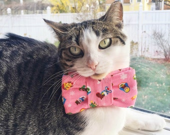 Holiday Bow Tie for Cats -Pink Holiday Fun Print