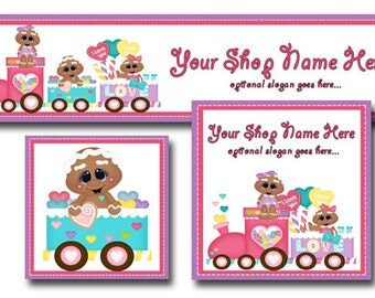 New!  Premade Etsy Cover Photo  - Large Etsy Banner - Etsy Shop Banner - Shop Icon - Gingerbread Train - Sweets - Candy -