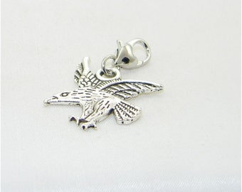 Tibetan silver eagle lobster claw charm for link bracelet and necklaces, Bird, Clip on charm, Purse charm, Backpack charm, Zipper charm,Gift