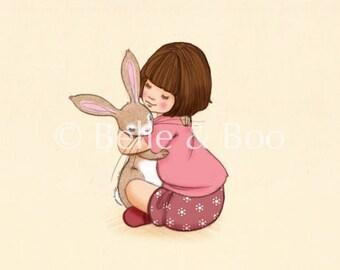 Girl and Bunny hug, belle & Boo birthday Hug art print