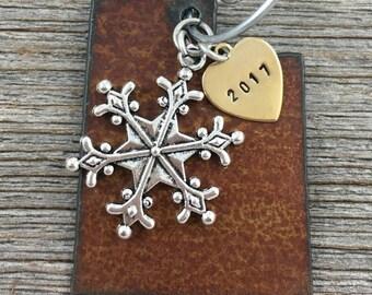 UTAH Christmas Ornament SMALL, Utah Ornament, Christmas Gifts 2017 Christmas Ornaments, Personalized Gift, UTAH Ornaments