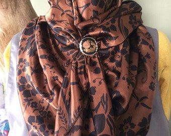 Black on Brown Floral Cowboy Buckaroo Wild Rag by Mann Creek Wild Rags